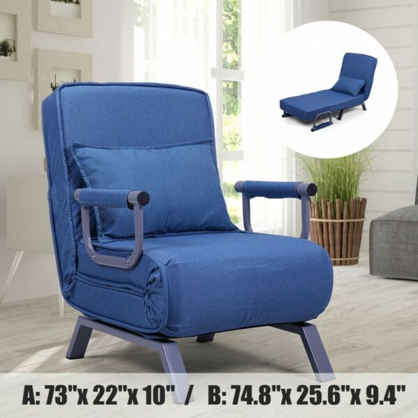 Folding Sofa Chair Chaise Lounge Single Sleeper Bed Arm Chair Leisure Recliner $120.99