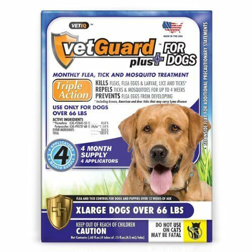 4 Month Flea & Tick Control DROPS for XL Dogs 66 lbs & up Vetguard Plus Best Val $17.99