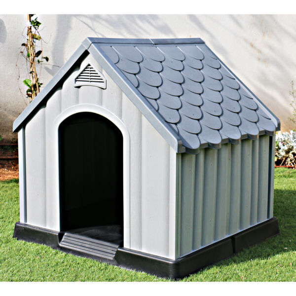 Ram Quality Products Outdoor Pet House Large Waterproof Dog Kennel Shelter Gray $109.99