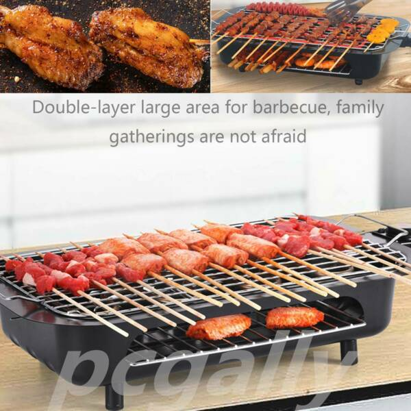 Indoor BBQ Portable Electric Grill Griddle Non Stick Barbecue Smokeless Cooking