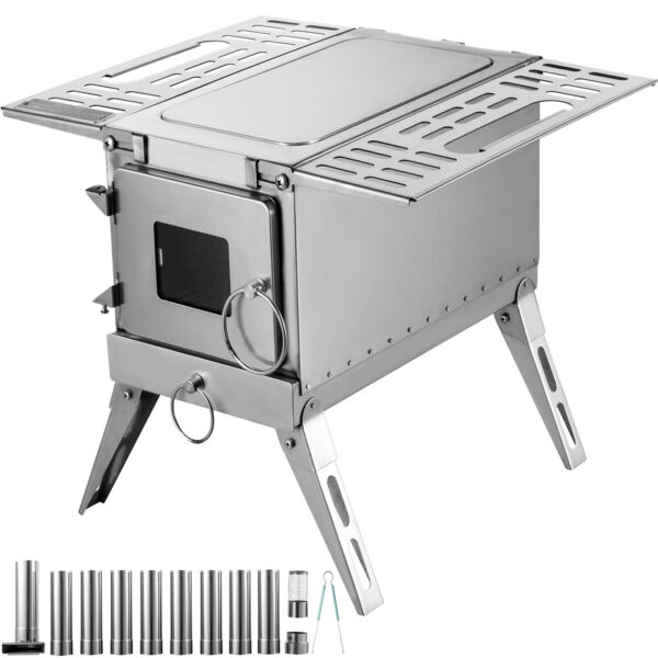 Outdoor Wood Stove SS304 Portable Camping with Pipe For Vented Tent Cooking $195.99
