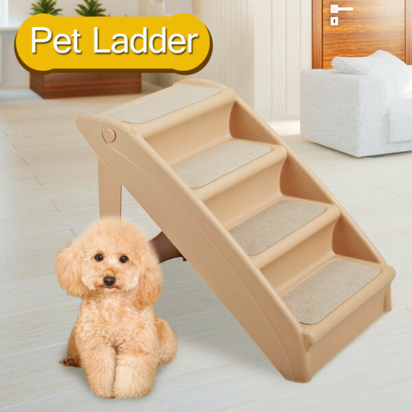 Foldable Pet Stairs Non slip 4 Steps Dog Cat up to 110 Pounds w Support Frame