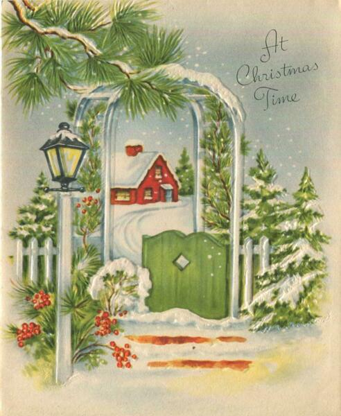 VINTAGE CHRISTMAS TRELLIS ARBOR SNOW HOLLY RED HOUSE GREEN GATE PINE TREES CARD