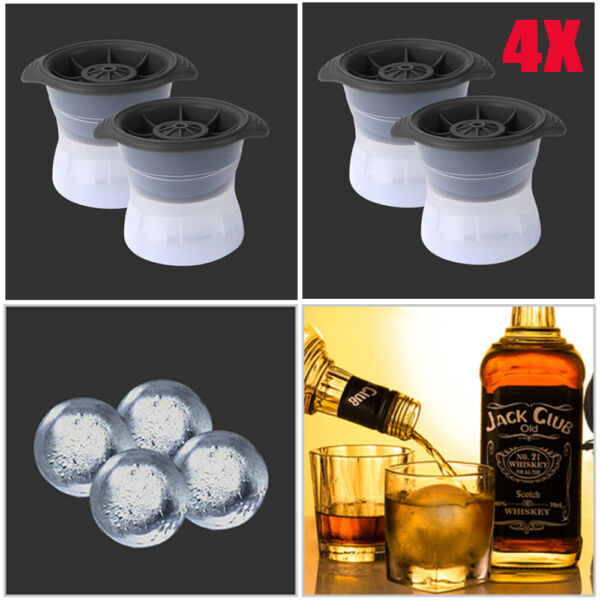 Ice Ball Maker Mold 2.5in 4x Silicone Lid Large Round Sphere Cube for Whiskey $12.99