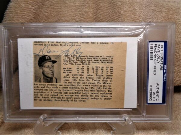 DAVE JOLLY SIGNED AUTOGRAPHED INDEX CARD --PSADNA--BRAVES--DIED 1963