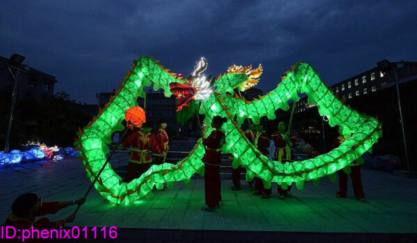 CHINESE Green DRAGON DANCE 10 adult Led Lights 18M Festival Costume Summer Sale