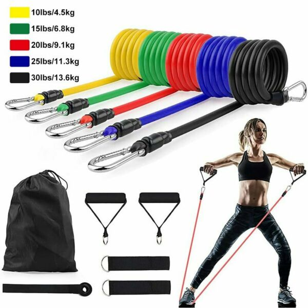 11PC Elastic Resistance Bands Sets Workout Rubber For Fitness Sport Exercise $15.63