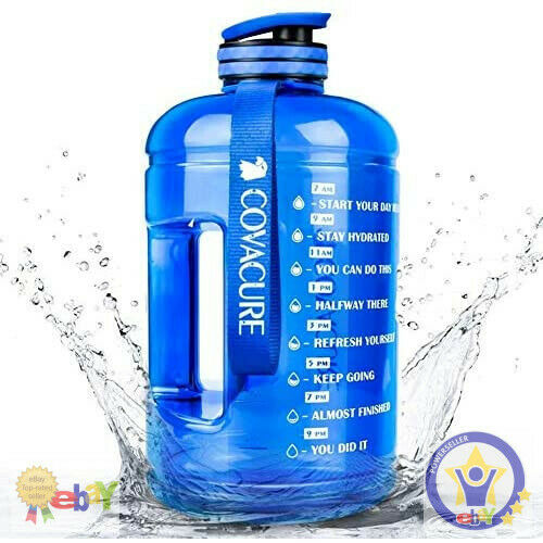 1 Gallon Water Bottle with Time Marker Straw & Handle BPA Free Gym Office Daily