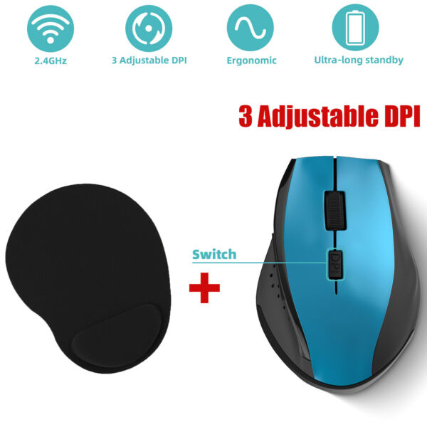 USB Wireless Mouse Optical PC Mice Laptop Computer Receiver Gaming DPI MousePad