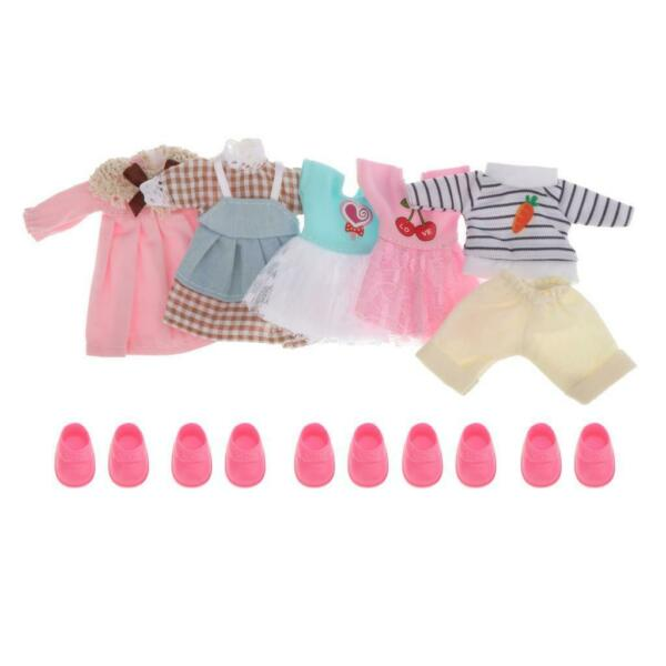 6inch Mini Girl Doll Dress Clothes Shoes Set BJD OB11 Clothing Accessory