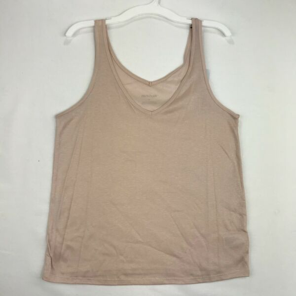 Prologue Womens Size Small Tank Top Light Beige V Neck 100% Lyocell $7.95