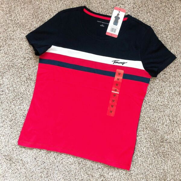 NWT Tommy Hilfiger Women#x27;s Round Neck Graphic Signature Tee Shirt 100% Cotton $20.99
