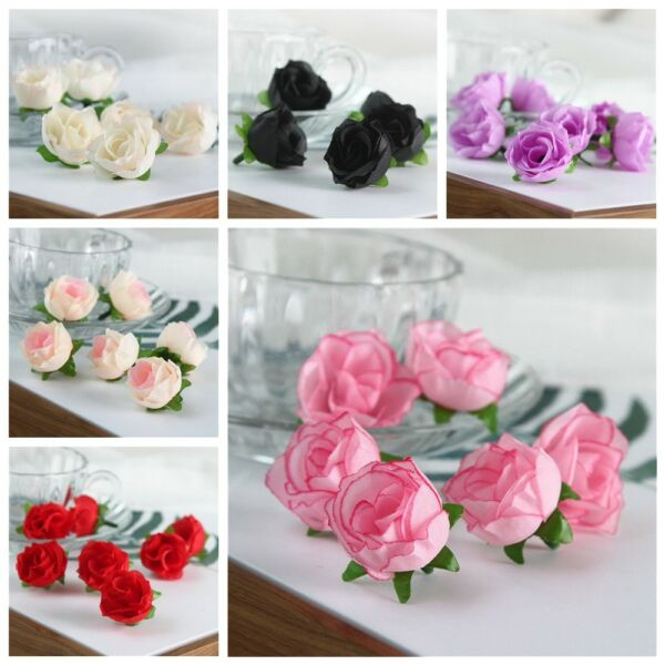 20 50 Small Silk Rose Bud Heads Artificial Fake Flowers Wedding Party Decor US
