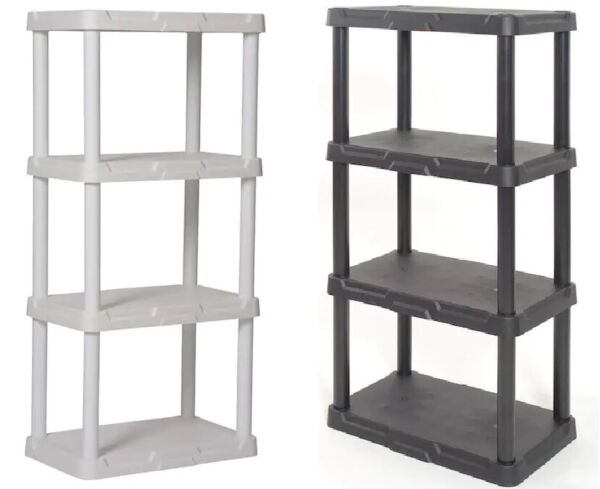 PLASTIC GARAGE SHELVING UNIT 48quot; Sturdy Durable Storage Shelves Black or White $31.95