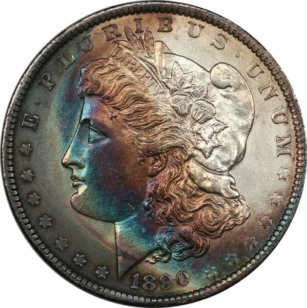 1890 BU Details Morgan Dollar - Toned with Colorful Crescent $32.04