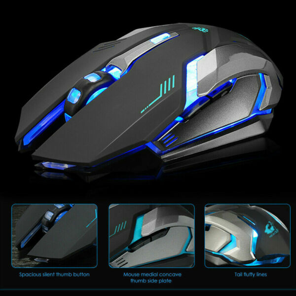 LED Rechargeable Wireless Backlit USB Optical Ergonomic Gaming X7 Mouse Mice USA