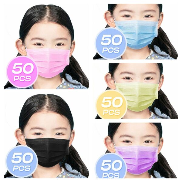 ❤KID CHILD❤50PCS❤3PLY Layer Disposable Face Mask Dust Filter Protection Cover