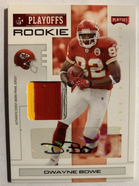 2007 Playoff NFL Playoffs Red Material Auto Dwayne Bowe Rookie Patch 5 50 $19.99