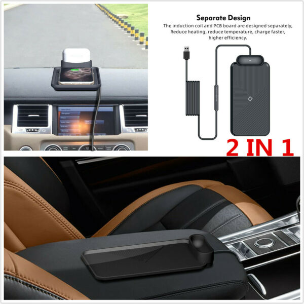 1pcs 5W 7.5W 10W Car Qi Wireless 2in1 Charger Silicone Pad Non slip Mat Black