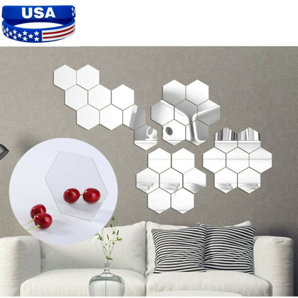 12Pcs 3D Mirror Removable Wall Stickers Hexagon Vinyl Decal Home DIY Decor Art