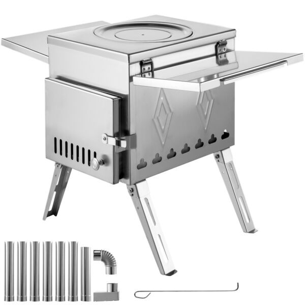 Outdoor Wood Stove SS304 Portable Camping with Pipe For Vented Tent Cooking $189.99