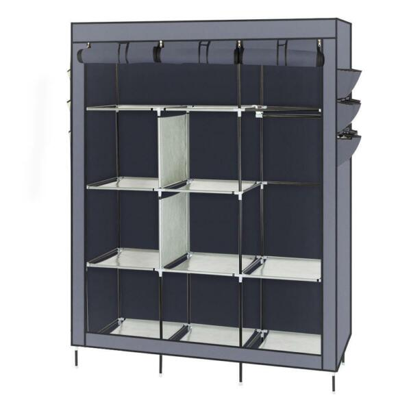 Portable Clothes Rack Closet Storage Holder Dustproof Wardrobe with Shelves Gray
