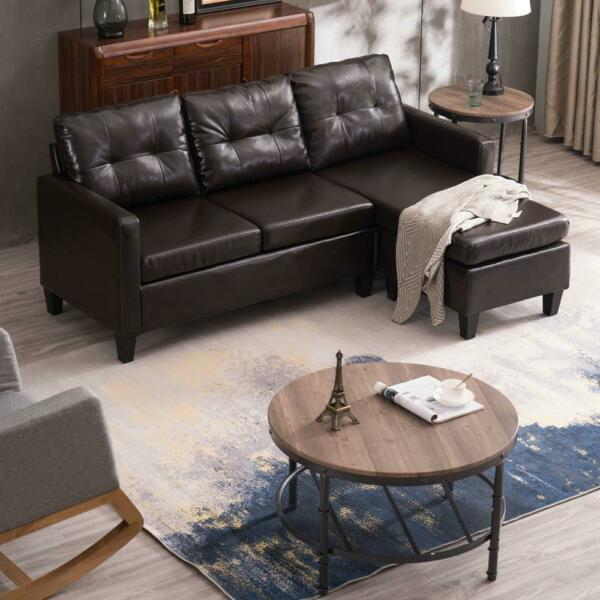 Hot Sectional Sofa Set PU Leather L-shaped Chaise Couch for Living Room Brown $287.99