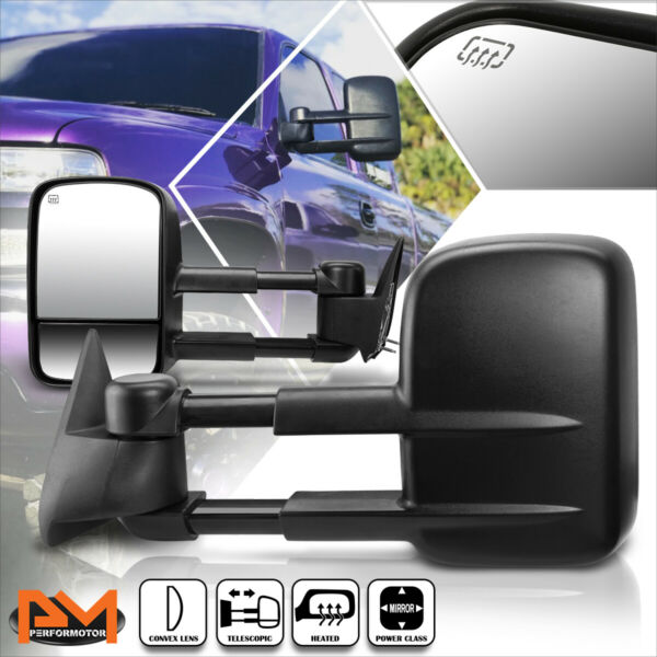 For 99-02 Chevy SilveradoGMC Sierra Power+Heated Side View Towing Mirror Pair