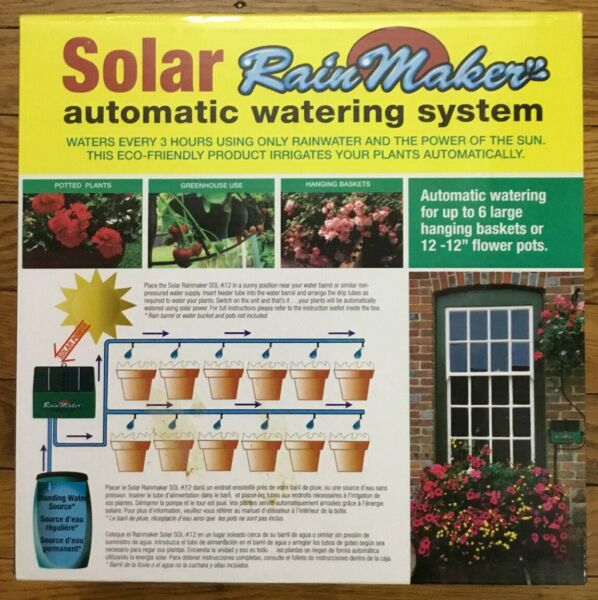 NEW Flower House Solar Rainmaker Automatic Watering System Plants SOLAR SOL-K12 $28.99