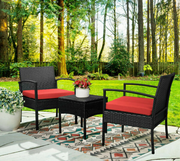 3pcs Wicker Rattan Patio Outdoor Furniture Conversation Sofa Bistro Set Garden