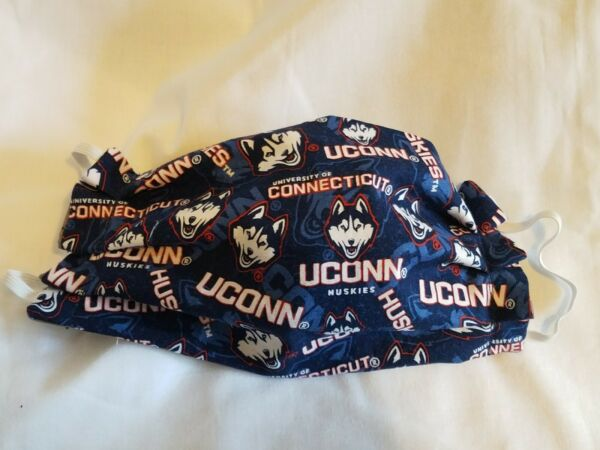 Handcrafted University of Connecticut Huskies adult face mask elastic $7.25