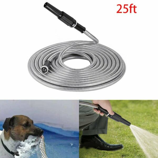 25 50 75 FT Flexible Garden Water Hose Stainless Steel Hose With Spray Nozzle