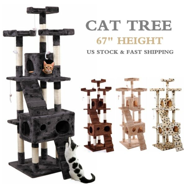 67quot; Cat Tree Condo Tower w Scratching Post Pet Kitty Play Climbing Furniture $65.99