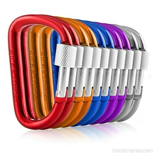 Carabiners Clip Set 10 Multicolor Pack of 3 Inch Locking D Ring Shape Clips NEW $8.69