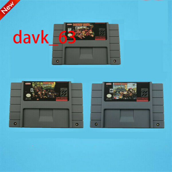 Donkey Kong Country 1 2 3 All Version SNES USA Cartridge Super Nintendo Game DKC