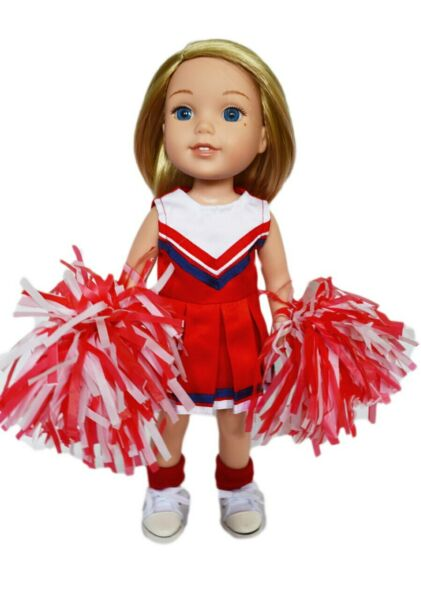 Red Cheerleader Outfit for Wellie Wisher Dolls -14 Inch Doll Clothes