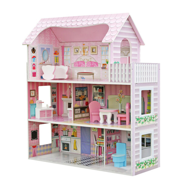 Large Girls Children's Wooden Dollhouse Kid Doll House Play with Furniture Pink