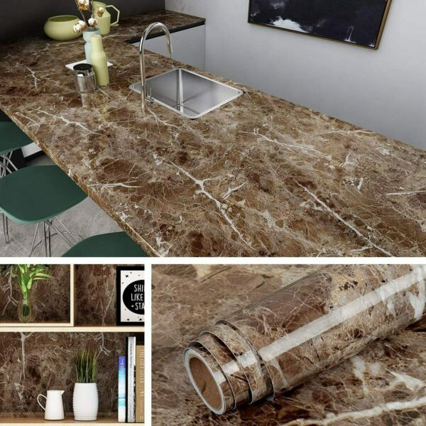 Livelynine Counter top Covers Peel and Stick Wallpaper Self Adhesive Marble Wall