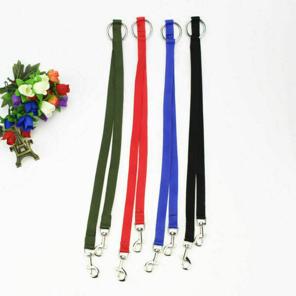 Nylon Double Lead Coupler Twin Dog Two Pet Dog Walking Leash Split K N4Q1 V9J2 $2.95