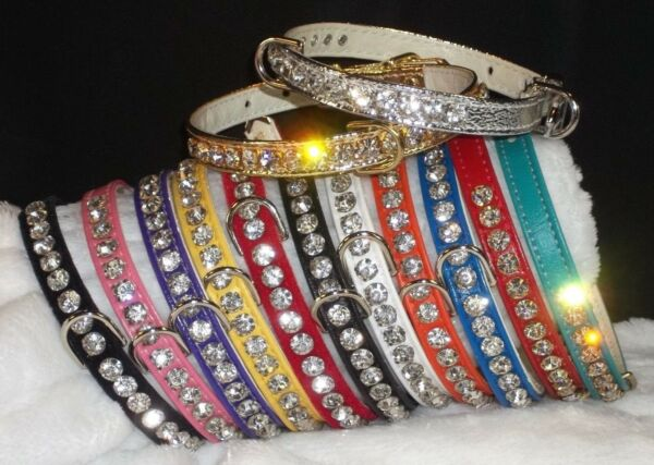 Rhinestone Luxury Dog Collars Bling Crystal Jewels small pet sizes $19.99
