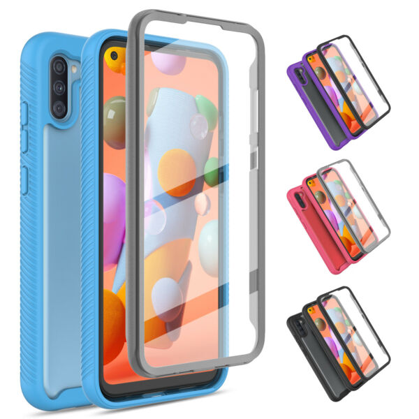 For Samsung Galaxy A11 A21 A01 Hybrid Case Cover With Built in Screen Protector