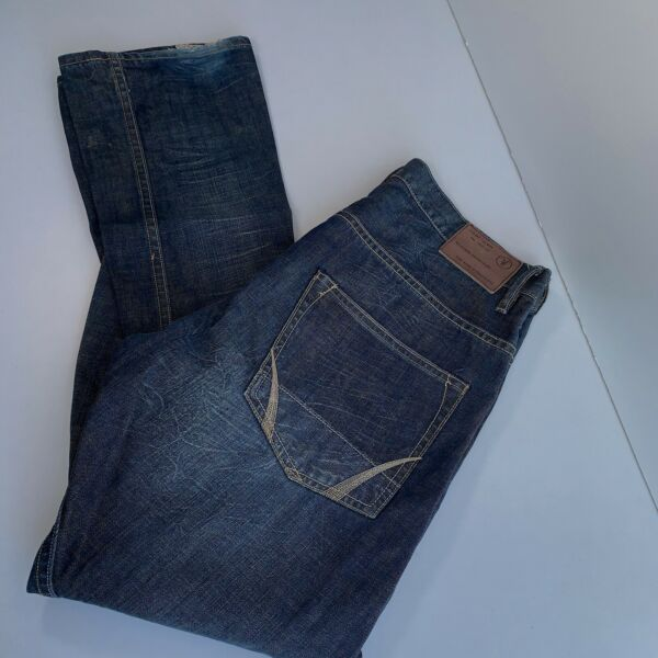 Allsaints Spitalfields Twisted Mens Jeans Blue Button Fly Size See Measurements