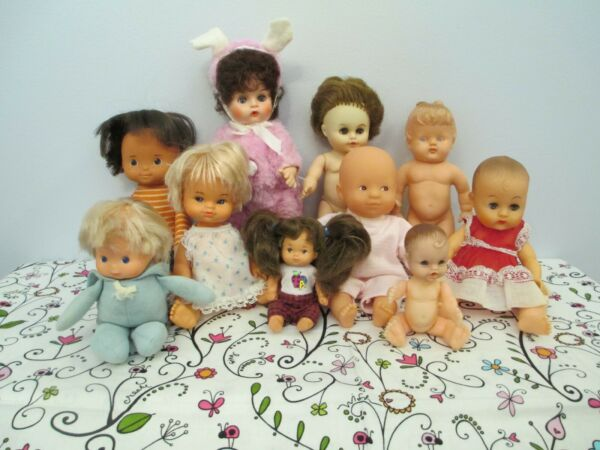 Adorable Lot of Small Mostly Vintage All Vinyl and Vinyl & Cloth Baby Dolls