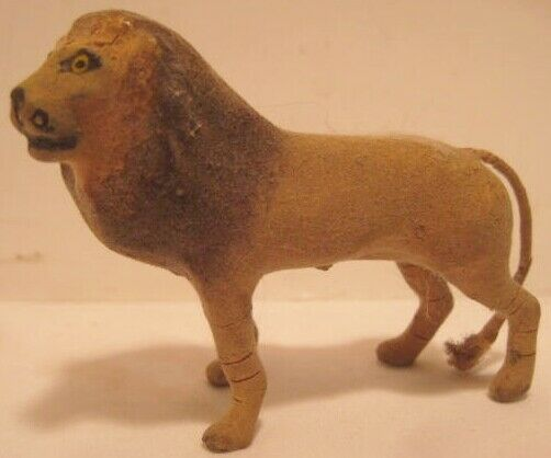 Old Miniature German Composition Flocked Lion for Zoo or Jungle Layout $34.00