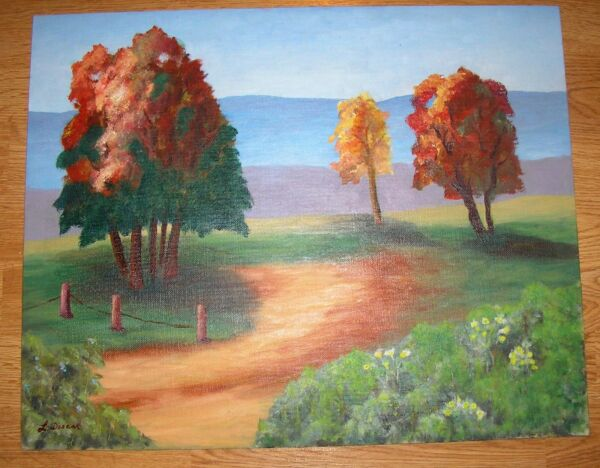 VINTAGE AUTUMN FALL FOLIAGE TREES VALLEY WILD FLOWERS HILLS SAND PATH PAINTING