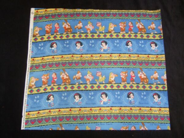 NEW Snow White And The Seven Dwarfs cotton fabric by 1 2 Yard