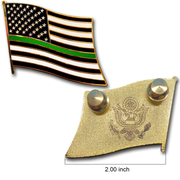 Thin Green Line Police Large cloisonné American Flag Lapel Pin with 2 pin posts $6.99