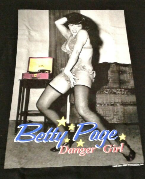 VINTAGE 2001 BETTY PAGE DANGER GIRL LARGE T SHIRT NEW NOS $129.95