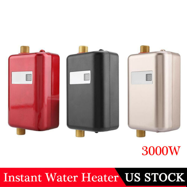 3000W Instant Hot Water Heater Electric Tankless On Demand House Shower Sink USA $60.56