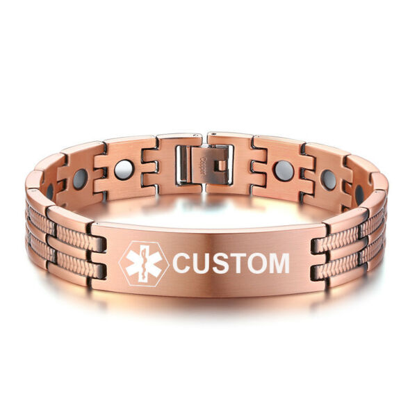 Personalized Medical Alert Copper Men#x27;s ID Magnetic Bracelet Health Care Therapy